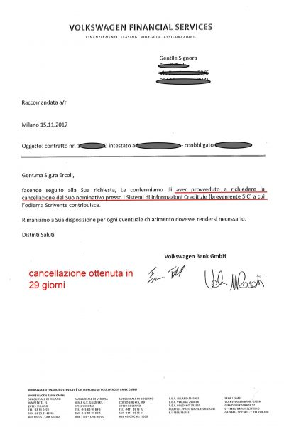 Cancellazione Volkswagen bank